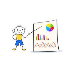 young doodle boy standing near flip chart and vector image