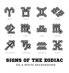 zodiac signs thin line icons vector image