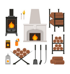 cartoon fireplace icons set vector image
