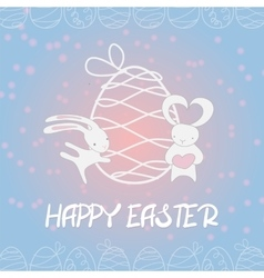 Fall in love funny bunny Easter egg vector image vector image
