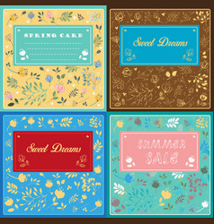 floral cards with banners for custom text vector image vector image