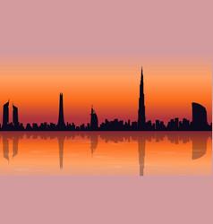 Reflection dubai skyline scenery of silhouettes vector