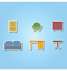 set of color icons with furniture vector image