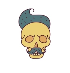 Skull with Hipster hairmustache and beards vector image vector image