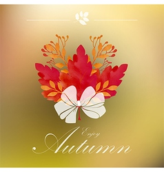 Autumnal frame with white ribbon vector image