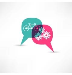 bicycle gear bubble speech vector image vector image