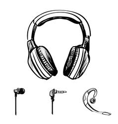 Doodle style headphones vector image