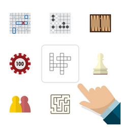 flat icon entertainment set of poker people dice vector image vector image