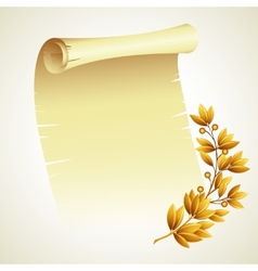 Laurel branch and a scroll vector image