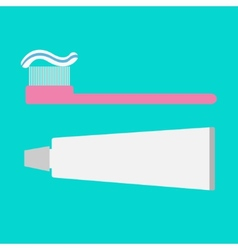Pink toothbrush and toothpaste tube Flat design vector image
