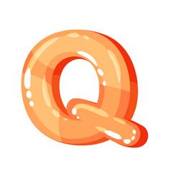 q orange glossy bright english letter kids font vector image