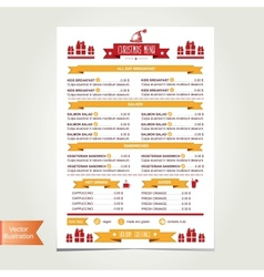 Cafe menu Christmas template design vector image