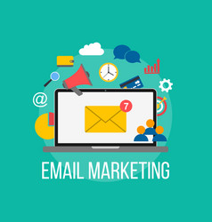 email marketing concept laptop with envelope on vector image vector image