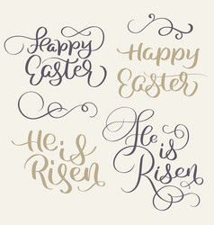 happy easter and he is risen words vintage vector image