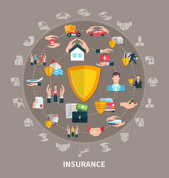 insurance round composition vector image