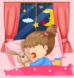 night scene with girl sleeping in bed vector image