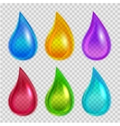 Set of colored drops over transparent background vector image