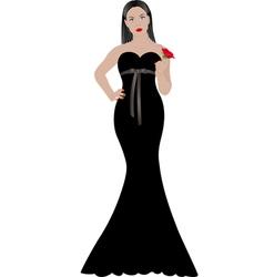 woman in black dress vector image