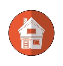 American house domestic chimney circle vector