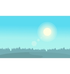 At sunrise hill landscape silhouettes vector image vector image