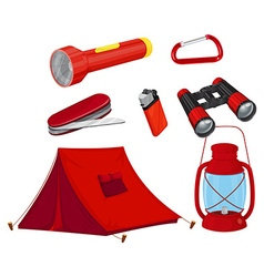 Camping equipments in red color vector image