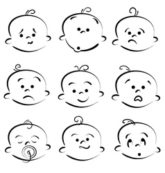 cartoon baby face vector image vector image