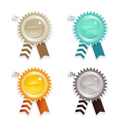 Four colored paper badges with place for your own vector image vector image