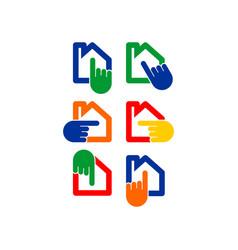 hand home logo vector image