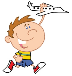 Little Boy Playing With Airplane vector image vector image