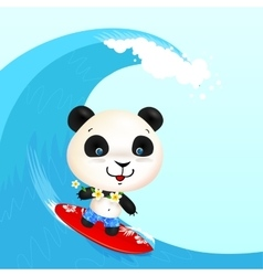 Little cute surfer panda surfing in blowing wave vector