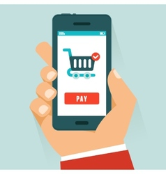 mobile payment concept in flat style vector image vector image