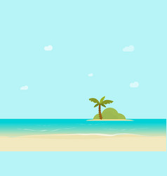 sea island horizon view from sand beach vector image