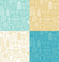 seamless pattern with linear travel icons vector image vector image