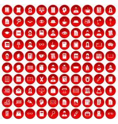 100 reader icons set red vector