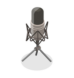 3d isometric flat concept microphone vector image
