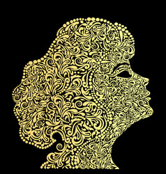 A girls face from the golden floral ornament vector