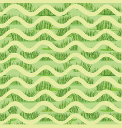 Abstract wave grass lush tiled pattern summer vector