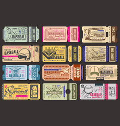 Admission tickets baseball game vector