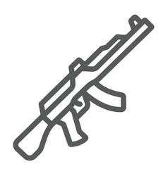 Ak47 line icon rifle and military machine gun vector