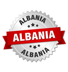 Albania round silver badge with red ribbon vector image