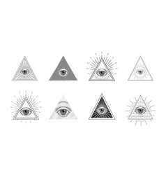 all seeing eye freemason symbol in triangle with vector image