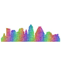 Austin skyline silhouette - multicolor line art vector