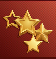 award shiny metal golden stars vector image vector image