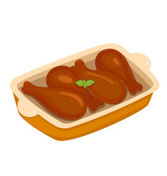 Baked chicken legs isolate on a white background vector