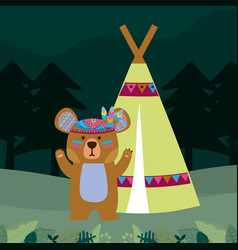 Bear cute hippie cartoon vector