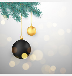 black and gold christmas balls hanging on fir vector image