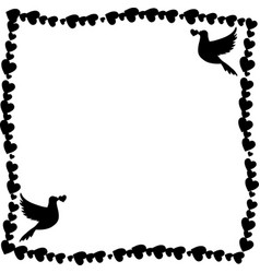 Black and white frame of hearts with doves in vector
