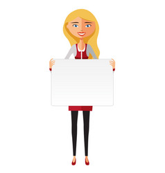 Blonde lady holding a large horizontal banner vector