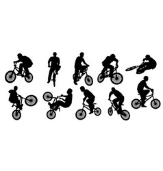 Bmx silhouette or bicycle silhouette vector