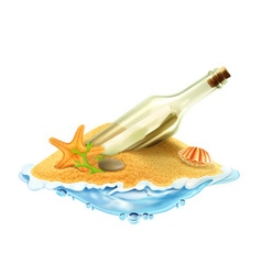 Bottle with a letter in the sand vector